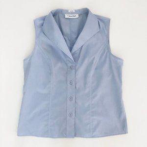 CALVIN KLEIN Women's Sleeveless Dress Shirt 10